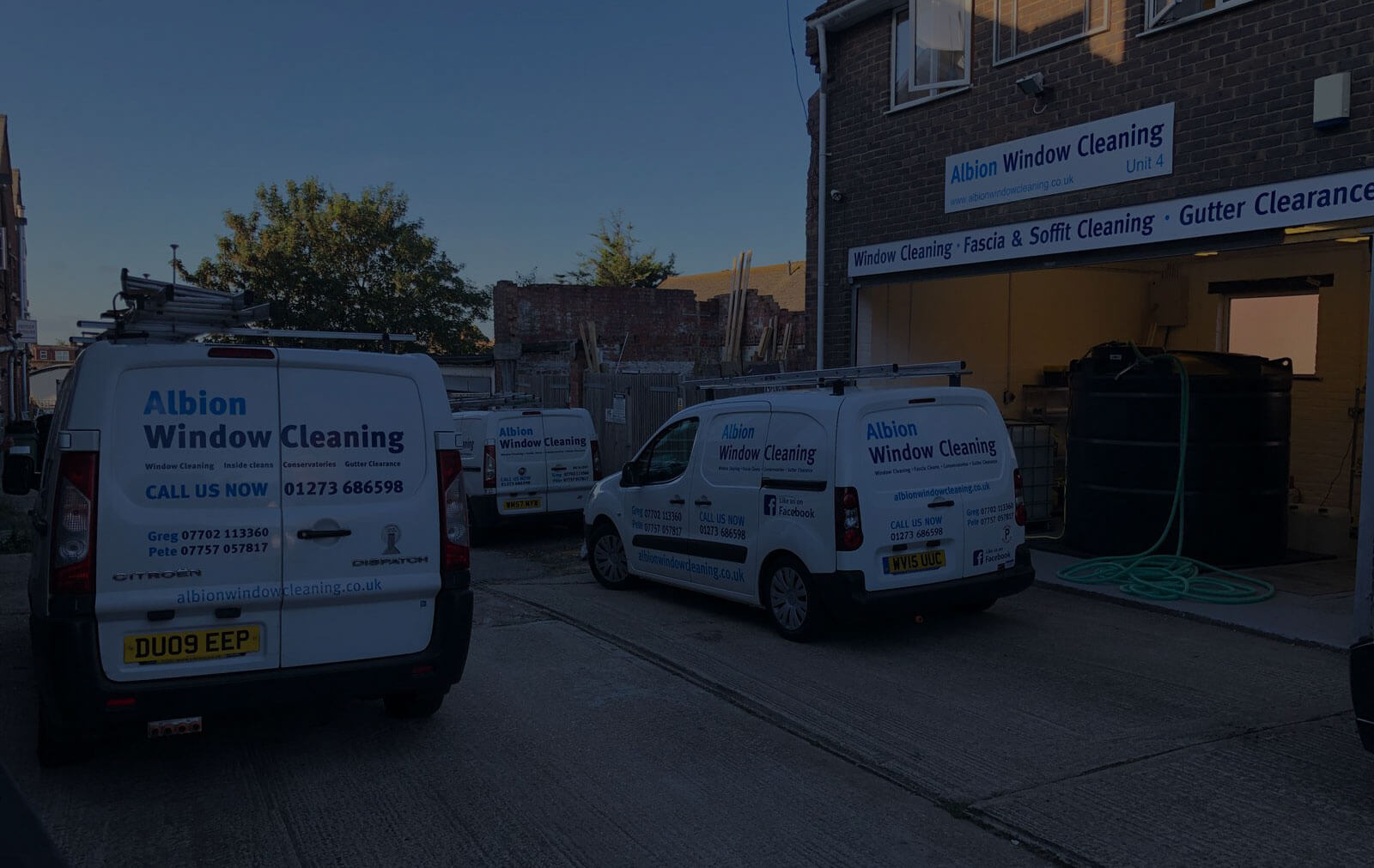 Albion Window Cleaning vans and property